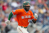 Miami Hurricanes outfielder Jacob Hayward (24) runs to first base against the UC Santa Barbara Gauchos in Game 5 of the NCAA College World Series on June 20, 2016 at TD Ameritrade Park in Omaha, Nebraska. UC Santa Barbara defeated Miami  5-3. (Andrew Woolley/Four Seam Images)