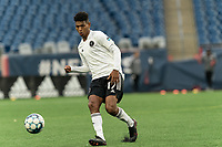 FOXBOROUGH, UNITED STATES - MAY 28: Modesto Mendez #17 of Fort Lauderdale CF passes the ball during a game between Fort Lauderdale CF and New England Revolution II at Gillette Stadium on May 28, 2021 in Foxborough, Massachusetts.
