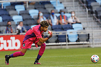 SAINT PAUL, MN - MAY 1: Dayne St. Clair #97 of Minnesota United FC rolls the ball during a game between Austin FC and Minnesota United FC at Allianz Field on May 1, 2021 in Saint Paul, Minnesota.