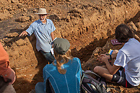 Introduction to Grassland Soils - California Native Grassland Association soils workshop with Vic Claassen (UC Davis) in soil pit, trench in field of UC Davis Putah Creek Riparian Reserve in Yolo County, California