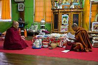 Myanmar, Burma.  Burmese Buddhist Monks, Alodaw Pauk Pagoda, Nampan Village, Inle Lake, Shan State.