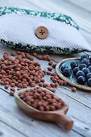 Schlehkernkissen, Schlehkern-Kissen, Körnerkissen, Kissen mit Schlehenkernen, Schlehkernen, die Kerne von Schlehen werden in einen Kissenbezug gefüllt, bei Bedarf wird dieses Wärmekissen im Ofen erwärmt, Kissen massiert und wärmt, natürliche Wärmflasche. Schlehe, Gewöhnliche Schlehe, Schwarzdorn, Schlehen, Prunus spinosa, Blackthorn, Sloe, Epine noire, Prunellier, sloe stone, sloe stones, hot-water bottle