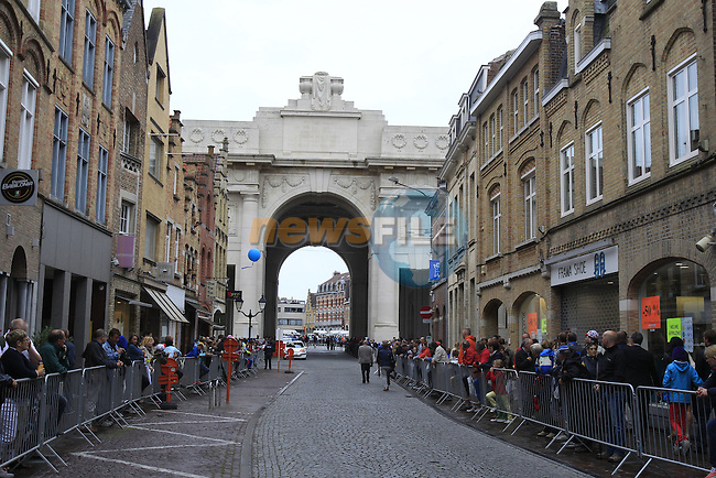 The Menin Gate in Ypres for the start of the cobbled stage Stage 5 of the 2014 Tour de France running 155.5km from Ypres to Arenberg. 9th July 2014.<br /> Picture: Eoin Clarke www.newsfile.ie