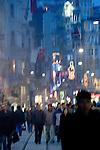Istanbul, Turkey, Beyoglu, district, Istiklal Caddesi, Istiklal Avenue, popular street promenade, Saturday night,