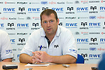 Forwards Coach Jonathan Humphreys  speaking during the Ospreys v Ulster press conference at Llandarcy Institute of Sport..