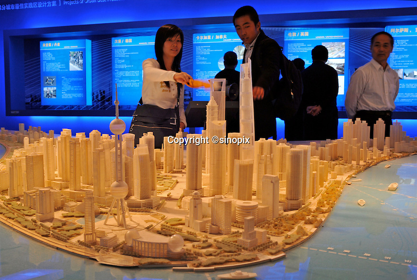 Visitors at the Shanghai Urban Planning Exposition Center in Shanghai, China. .26 Oct 2009