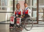 VERNON, BC--APRIL 02, 2014---Canadian Paralympians and Sochi 2014 gold medallists Sonja Gaudet and Josh Dueck at the CIBC Vernon main branch on April 2, 2014.  This is a local CIBC Paralympian Welcome Home event for athletes who participated in the 2014 Paralympic Games in Sochi.  (CANADIAN PRESS IMAGES/Jeff Bassett)<br /> Vernon, C.-B.- le 2 avril 2014---Les paralympiens canadiens et médaillés d'or de Sotchi 2014 Sonja Gaudet et Josh Dueck au centre bancaire principal de la CIBC à Vernon pour la fête de retour paralympique de la CIBC. (Photo: Canadian Press Images/Jeff Bassett)