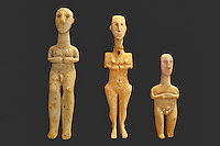 Early Cycladic Anthropomorphic marble figurines (3200-2800 B.C.) in National Museum, Greece