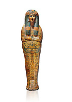 Ancient Egyptian sarcophagus outer coffin of singer Tabakenkhonsu, Temple of Hatshepsut at Deir el-Bahri, Thebes, 2nd half of 21st Dynasty, 680–670 B.C. Egyptian Museum, Turin. white background.<br /> <br /> The deceased is depicted with her hands rendered in high relief on top of a wesekh collar. a stylistic trait that allows the coffin to be dated from the late 21st Dynsaty. the outer coffin is of great quality depicting mythological scenes derived from the Book of the Dead spells.