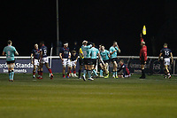 Nottingham Rugby think they've scored but it's ruled out during the Greene King IPA Championship match between London Scottish Football Club and Nottingham Rugby at Richmond Athletic Ground, Richmond, United Kingdom on 7 February 2020. Photo by Carlton Myrie.