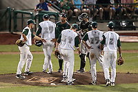 Fort Wayne TinCaps make a pitching change during a game against the Quad Cities River Bandits at Parview Field on July 25, 2011 in Fort Wayne, Indiana.  From left, first baseman Tyler Stubblefield #21, pitcher Deiber Sanchez #29, manager Shawn Wooten #35, second baseman Cory Spangenberg #34, catcher Emmanuel Quiles #15, third baseman Chris Bisson #19, and shortstop B.J. Guinn #2; Quad Cities defeated Fort Wayne 11-10.  (Mike Janes/Four Seam Images)