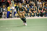 Berlin, Germany, February 01: Katharina Windfeder #8 of HTC Uhlenhorst Muehlheim passes the ball during the 1. Bundesliga Damen Hallensaison 2014/15 final hockey match between Duesseldorfer HC (white) and HTC Uhlenhorst Muehlheim (green) on February 1, 2015 at the Final Four tournament at Max-Schmeling-Halle in Berlin, Germany. Final score 4-1 (1-0). (Photo by Dirk Markgraf / www.265-images.com) *** Local caption ***