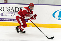 WORCESTER, MA - FEBRUARY 08: Deziray De Sousa #8 of Boston University brings the puck forward during a game between Boston University and College of the Holy Cross at Hart Center Rink on February 08, 2020 in Worcester, Massachusetts.