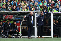 SEATTLE, WA - NOVEMBER 10: Head coach Brian Schmetzer of the Seattle Sounders FC instructs his team during a game between Toronto FC and Seattle Sounders FC at CenturyLink Field on November 10, 2019 in Seattle, Washington.