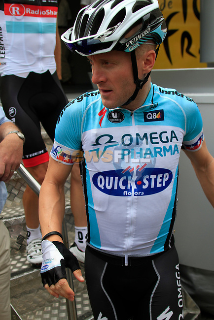 Levi Leipheimer (USA) Omega Pharma-Quick Step at sign on before the start of Stage 2 of the 99th edition of the Tour de France 2012, running 207.5km from Vise to Tournai, Belgium. 2nd July 2012.<br /> (Photo by Eoin Clarke/NEWSFILE)