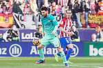 Leo Messi of Futbol Club Barcelona competes for the ball with Diego Godin of Atletico de Madrid  during the match of Spanish La Liga between Atletico de Madrid and Futbol Club Barcelona at Vicente Calderon Stadium in Madrid, Spain. February 26, 2017. (ALTERPHOTOS)