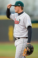 First baseman Austin Gallagher #35 of the Great Lakes Loons on defense versus the Dayton Dragons at Fifth Third Field April 21, 2009 in Dayton, Ohio. (Photo by Brian Westerholt / Four Seam Images)