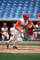 Clearwater Threshers third baseman Mitch Walding (10) bats during a game against the Daytona Tortugas on April 20, 2016 at Bright House Field in Clearwater, Florida.  Clearwater defeated Daytona 4-2.  (Mike Janes/Four Seam Images)