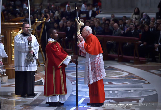 Cardinal Giovanni Battista Re,Pope Francis the ceremony of the Good Friday Passion of the Lord Mass in Saint Peter's Basilica at the Vatican.March 30, 2018