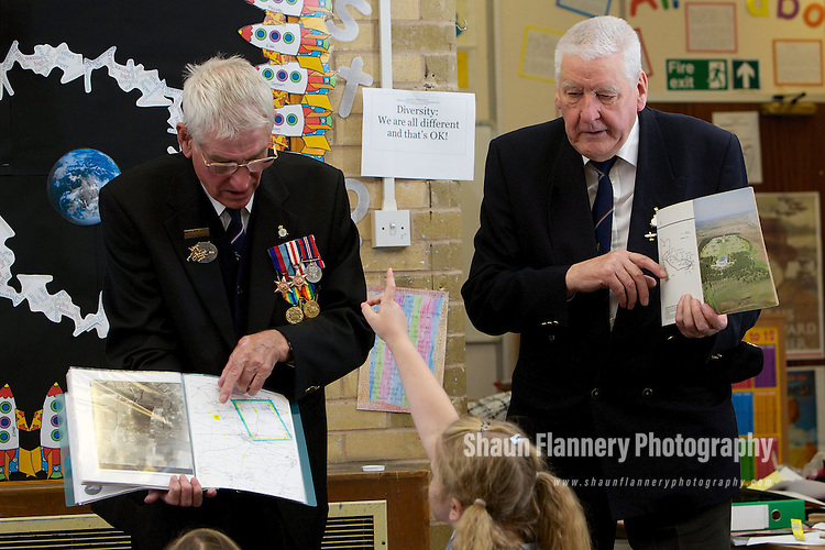 Pix: Shaun Flannery/shaunflanneryphotography.com...COPYRIGHT PICTURE>>SHAUN FLANNERY>01302-570814>>07778315553>>..30th September 2010..........Sheffield war veterans visit Concord Junior School to 'Keep the Memories Alive'.The World War 2 'heroes' gave a talk to year 4 &5 pupils about their experiences during the war..Pat Strafford (left) and Don Gillott