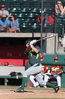 Nick Catalano (7) of the Oregon Ducks bats during a game against the Southern California Trojans at Dedeaux Field on April 18, 2015 in Los Angeles, California. Oregon defeated Southern California, 15-4. (Larry Goren/Four Seam Images)