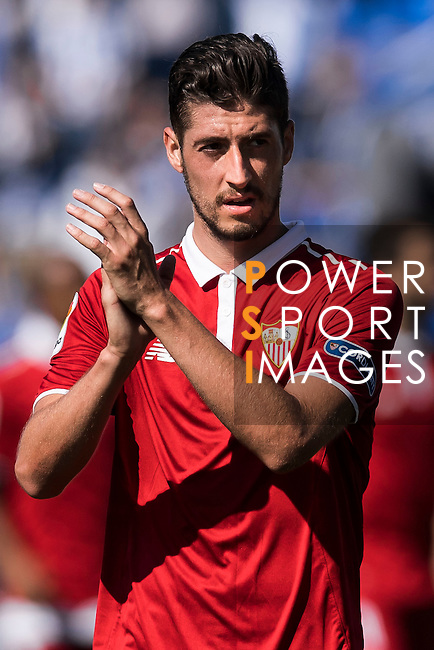 Sergio Escudero Palomo of Sevilla FC celebrates during their La Liga match between Deportivo Leganes and Sevilla FC at the Butarque Municipal Stadium on 15 October 2016 in Madrid, Spain. Photo by Diego Gonzalez Souto / Power Sport Images
