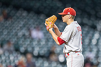 Nebraska Cornhuskers pitcher Derek Burkamper (2) looks to his catcher for the sign during the Houston College Classic against the LSU Tigers on March 8, 2015 at Minute Maid Park in Houston, Texas. LSU defeated Nebraska 4-2. (Andrew Woolley/Four Seam Images)
