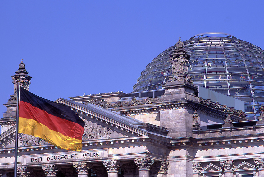 Europe, DEU, Germany, Berlin, Government, Reichstag with german national flag.....[ For each utilisation of my images my General Terms and Conditions are mandatory. Usage only against use message and proof. Download of my General Terms and Conditions under http://www.image-box.com or ask for sending. A clearance before usage is necessary...Material is subject to royalties. Each utilisation of my images is subject to a fee in accordance to the present valid MFM-List...Contact   archive@image-box.com   www.image-box.com ]