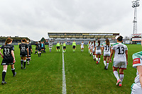 players entering the field pictured before a female soccer game between Eendracht Aalst and OHL on the 13 th matchday of the 2020 - 2021 season of Belgian Scooore Womens Super League , Saturday 6 th of February 2021  in Aalst , Belgium . PHOTO SPORTPIX.BE   SPP   STIJN AUDOOREN