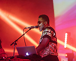 May 18, 2018. Durham, North Carolina.<br /> <br /> Shabazz Palaces at the Durham Armory. <br /> <br /> Moogfest 2018 showcases 4 days of music, art and technology spread out amongst venues in and around downtown Durham.