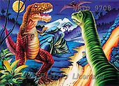 Alfredo, FANTASY, paintings, 2 dinosaurs, BRTO, BRTO9708,#fantasy# illustrations, pinturas