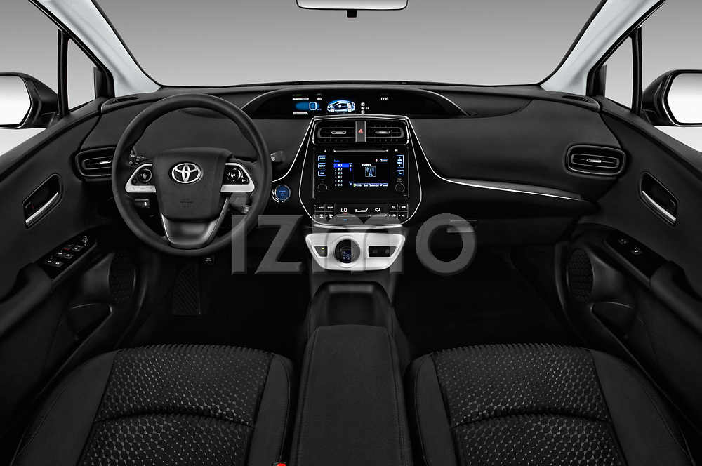 Stock photo of straight dashboard view of 2018 Toyota Prius Two 5 Door Hatchback Dashboard