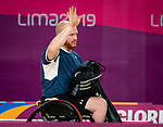 Lima, Peru -  31/August/2019 -   Bernard Lapointe and Richard Peter compete in the bronze medal match in badminton at the Parapan Am Games in Lima, Peru. Photo: Dave Holland/Canadian Paralympic Committee.