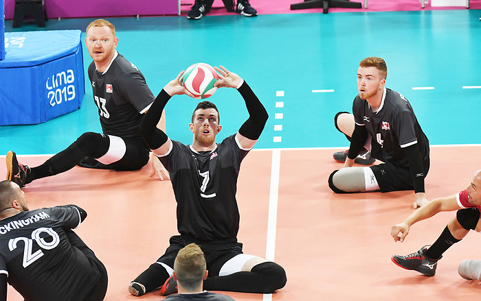 Doug Learoyd, Darek Symonowics, and Bryce Foster, Lima 2019 - Sitting Volleyball // Volleyball assis.<br /> Canada competes in men's Sitting Volleyball // Canada participe au volleyball assis masculin. 24/08/2019.