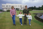 Duke of Westminster. 1990s at Eaton Hall which is the white modern building in background.  With wife, Natalia Grosvenor, Duchess of Westminster and daughters  Edwina and Tamara Grosvenor.