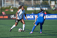 Boston, MA - Sunday April 23, 2017: Kayla Mills, Tiffany Weimer during a regular season National Women's Soccer League (NWSL) match between the Boston Breakers and Sky Blue FC at Jordan Field.