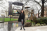 "Zizi Strallen unveils a Mary Poppins statue at the launch of ""Scenes in the Square"" statue trail in Leicester Square, London.<br /> <br /> ©Ash Knotek  D3558 27/02/2020"