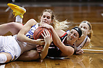 SIOUX FALLS, SD - MARCH 6: Tylee Irwin #21 of the South Dakota State Jackrabbits battles for a loose ball with Claire Killian #11 of the Omaha Mavericks fo during the Summit League Basketball Tournament at the Sanford Pentagon in Sioux Falls, SD. (Photo by Richard Carlson/Inertia)