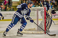 4 January 2014:  Yale University Bulldog defenseman Gus Young, a Senior from Dedham, MA, in second period action against the University of Vermont Catamounts at Gutterson Fieldhouse in Burlington, Vermont. With an empty net and seconds remaining, the Cats came back to tie the game 3-3 against the 10th seeded Bulldogs. Mandatory Credit: Ed Wolfstein Photo *** RAW (NEF) Image File Available ***