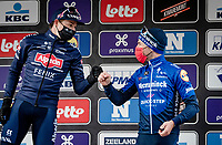 Jasper Philipsen (BEL/Alpecin-Fenix) wins the 2021 Scheldeprijs ahead of Sam Bennett (IRE/Deceuninck - Quick Step) & Mark Cavendish (GBR/Deceuninck - Quick Step)<br />