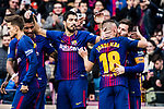 Luis Suarez of FC Barcelona (C) celebrating a score with his teammates during the La Liga 2017-18 match between FC Barcelona and RC Celta de Vigo at Camp Nou Stadium on 02 December 2017 in Barcelona, Spain. Photo by Vicens Gimenez / Power Sport Images