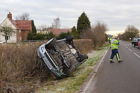 RTC involving a Ford Focus that has overturned and rolled onto its roof. This image may only be used to portray the subject in a positive manner..©shoutpictures.com..john@shoutpictures.com