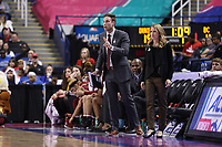 GREENSBORO, NC - MARCH 06: Assistant coach AJ Cohen of Boston College with head coach Joanna Bernabei-McNamee during a game between Boston College and Duke at Greensboro Coliseum on March 06, 2020 in Greensboro, North Carolina.