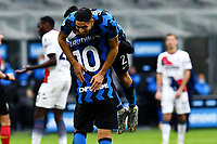 Achraf Hakimi of FC Internazionale celebrates with Lautaro Martinez after scoring a goal during the Serie A football match between FC Internazionale and FC Crotone at stadio San Siro in Milano (Italy), January 3rd, 2021. Photo Daniele Buffa / Image Sport / Insidefoto
