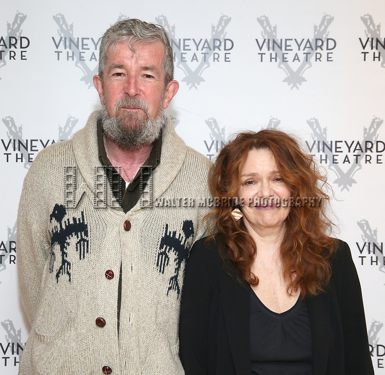 """Director Les Waters and actress Deirdre O'Connell during the cast photo call for the Vineyard Theatre Production of Dana H."""" at the Vineyard Theatre Rehearsal Studios on February 4, 2020 in New York City."""