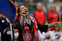 Portland, Oregon - Sunday October 2, 2016: Krya Smith sings the national anthem during a semi final match of the National Women's Soccer League (NWSL) at Providence Park.
