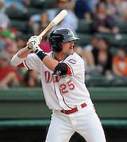 Outfielder Bryce Brentz (25) of the Greenville Drive, Class A affiliate of the Boston Red Sox, in a game against the Charleston RiverDogs on April 11, 2011, at Fluor Field at the West End in Greenville, S.C. Brentz was the 36th overall pick in the 2010 First-Year Player Draft. Photo by Tom Priddy / Four Seam Images