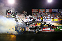 Sep 27, 2013; Madison, IL, USA; NHRA top fuel dragster driver Terry McMillen during qualifying for the Midwest Nationals at Gateway Motorsports Park. Mandatory Credit: Mark J. Rebilas-