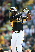Pittsburgh Pirates outfielder Andrew McCutchen (22) during a Spring Training game against the New York Yankees on March 5, 2015 at McKechnie Field in Bradenton, Florida.  New York defeated Pittsburgh 2-1.  (Mike Janes/Four Seam Images)