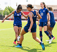 HOUSTON, TX - JUNE 12: Margaret Purce #20 of the USWNT has the ball taken away by Lynn Williams #6 during a training session at University of Houston on June 12, 2021 in Houston, Texas.